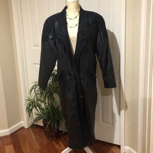 Jackets & Blazers - Gorgeous Leather Suede Long Black Coat Trench XL